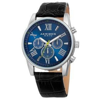 Akribos XXIV Men's Swiss Quartz Multifunction Dual-Zone Black Leather Strap Watch - BLue