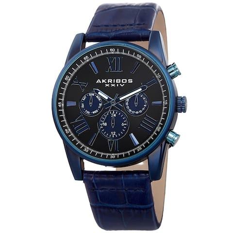 Akribos XXIV Men's Swiss Quartz Multifunction Dual-Zone Blue Leather Strap Watch