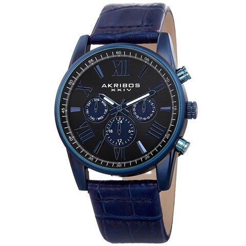 Akribos XXIV Men's Swiss Quartz Multifunction Dual-Zone Blue Leather Strap Watch