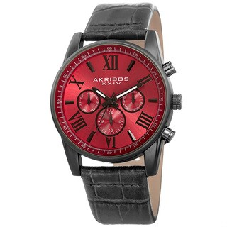Akribos XXIV Men's Swiss Quartz Multifunction Dual-Zone Gray Leather Strap Watch - RED