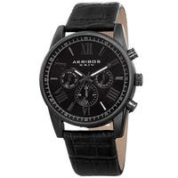 Akribos XXIV Men's Swiss Quartz Multifunction Dual-Zone Black Leather Strap Watch