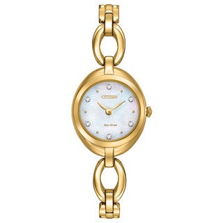 Citizen Women's Goldtone Stainless Steel Silhouette Eco-Drive Mother of Pearl Dial Watch