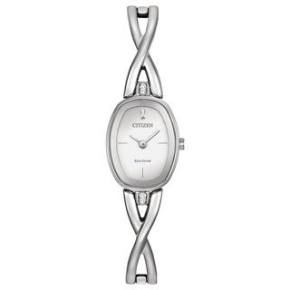 Citizen Women's Stainless Steel Silhouette EX1410-53A Silvertone Dial Eco-Drive Watch