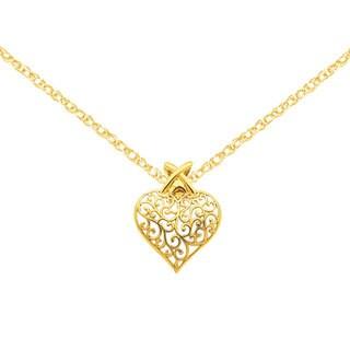 Versil 14k Yellow Gold Filigree Heart Pendant