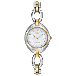Citizen Women's Two-tone Stainless Steel Silhouette Eco-Drive Mother of Pearl Dial Watch