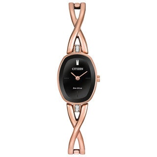 Citizen Women's Rose Goldtone Stainless Steel Silhouette Eco-Drive Black Dial Watch