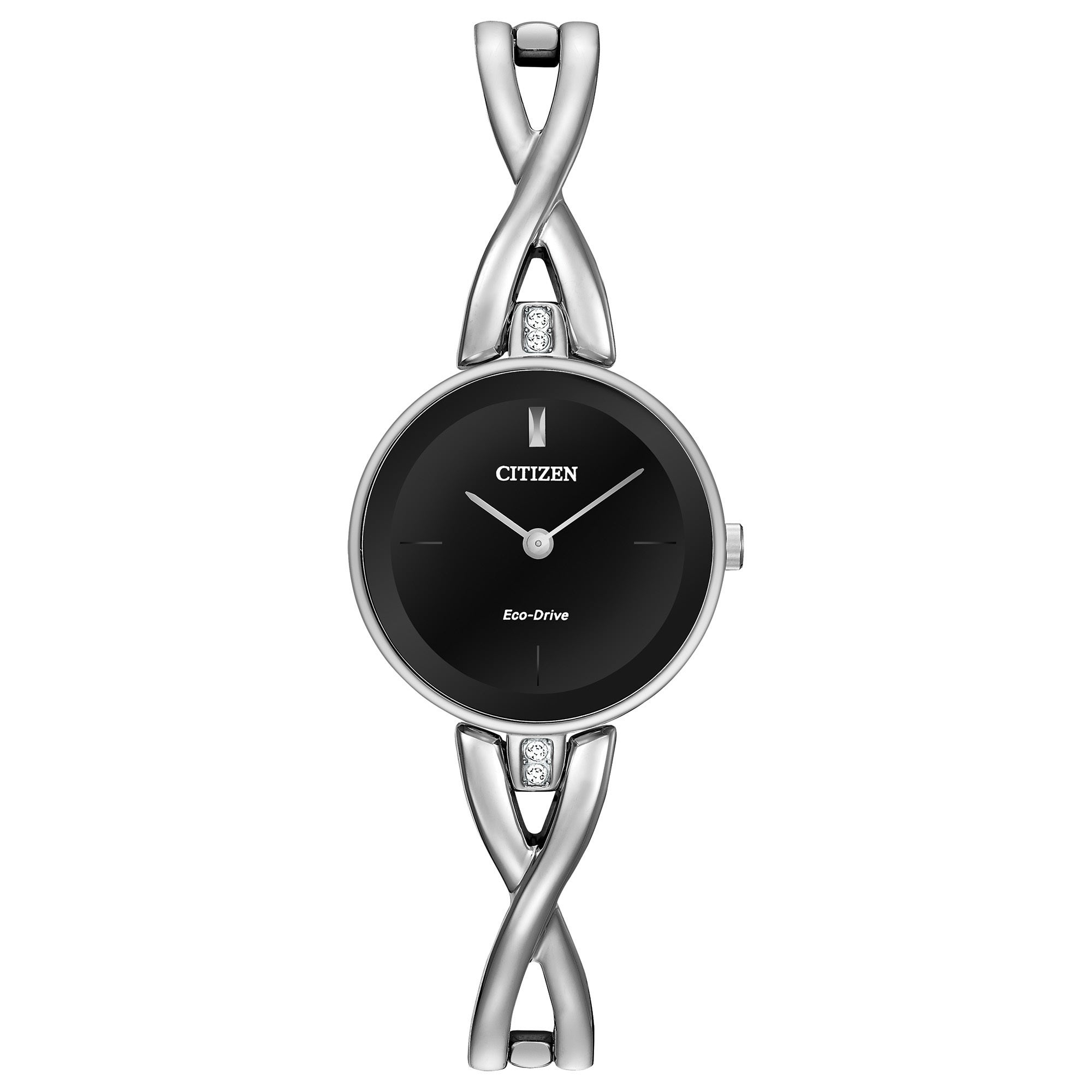 d9424f64ff4832 Shop Citizen Women's EX1420-50E Stainless Steel Silhouette Eco-Drive Black  Dial Watch - Free Shipping Today - Overstock - 11690948