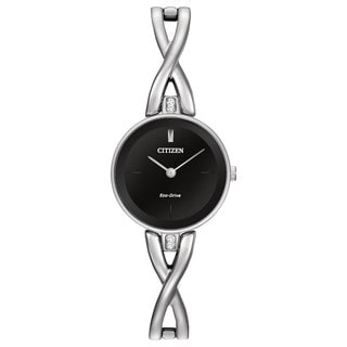 Citizen Women's Stainless Steel Silhouette Eco-Drive Black Dial Watch