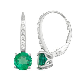 Gioelli Sterling Silver Created Emerald and Created White Sapphire Leverback Earrings