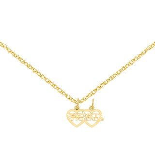 Versil 14k Yellow Gold Double Heart Best Friends Break Apart Charm with Two 18-inch Chains