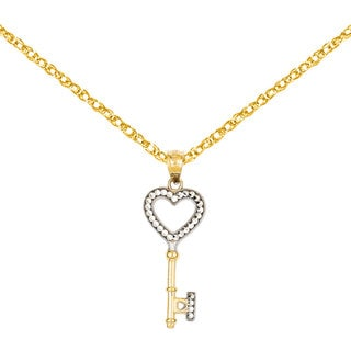 Versil 14k Yellow Gold Heart Key Pendant