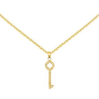 Versil 14k Yellow Gold Clover Top Puff Round Key Pendant
