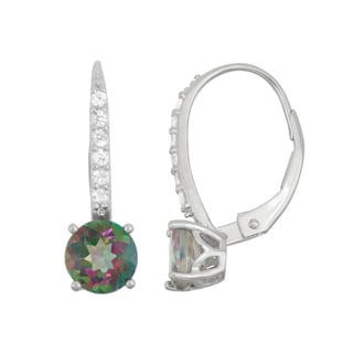 Gioelli Sterling Silver Mystic Topaz and Created White Sapphire Leverback Earrings