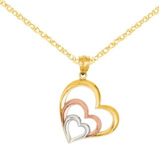 Versil 14k Tri-color Gold and Rhodium Heart Pendant