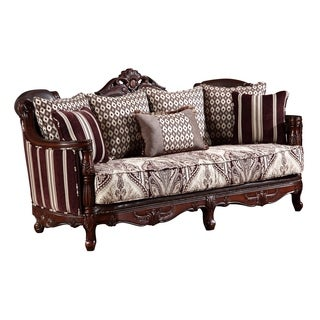 Global Furniture Striped Brown Wood Sofa
