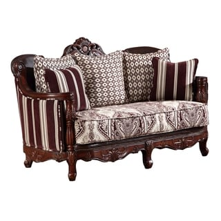 Global Furniture Striped Brown Wood Loveseat