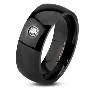 Men's Black Plated Polished Stainless Steel Domed Cubic Zirconia Comfort Fit Ring - 8mm Wide