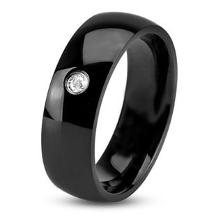 Men's Black Plated Polished Stainless Steel Domed Cubic Zirconia Comfort Fit Ring - 6mm Wide