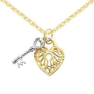 Versil 14k Two-tone Gold Heart and Key Charm
