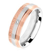 Cubic Zirconia Engraved 'Let's Bless Our Love' Two Tone Polished Stainless Steel Ring - 6mm Wide
