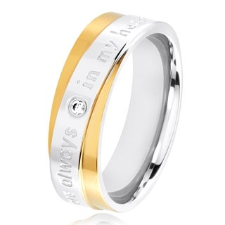 Cubic Zirconia Engraved 'You Are Always In My Heart' Two Tone Polished Stainless Steel Ring - 6mm Wide