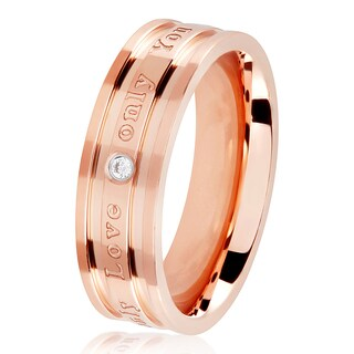 Cubic Zirconia Engraved 'Only Love Only You' Rose Gold Polished Stainless Steel Ring - 6mm Wide