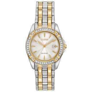 Citizen Women's Two-tone Stainless Steel Silhouette Crystal Eco-Drive Champagne Dial Austrian Crystal Watch