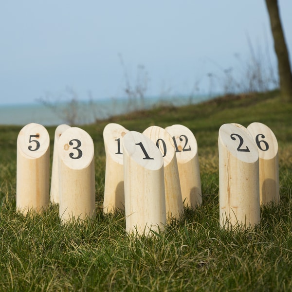 Wooden Throwing Game Set, 12 Numbered Pins Hey Play