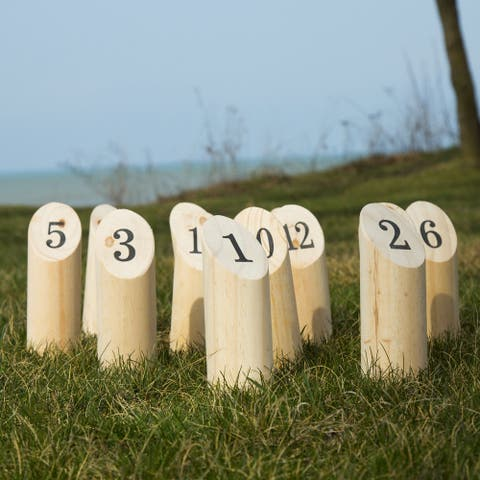 Wooden Throwing Game Set, 12 Numbered Pins Hey Play - 11 x 7.25 x 7