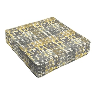 Grey Gold Squares Indoor/ Outdoor Square Cushion - Corded