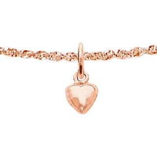 Versil 14k Rose Gold Solid Polished 3D Heart Charm