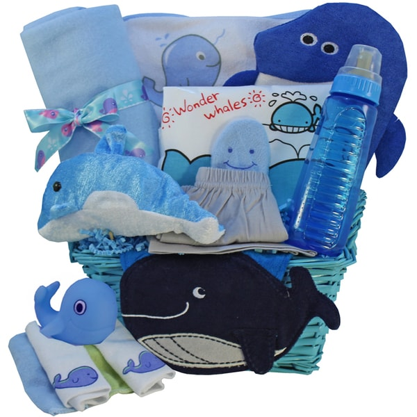 New Baby Boy Gift Baskets Free Shipping : Whale tails fishing fun blue baby boy gift basket free