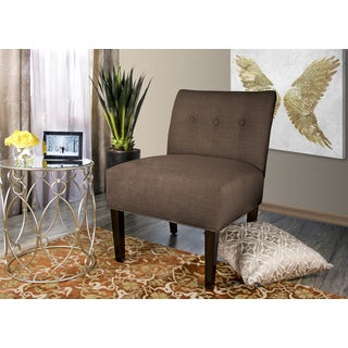 MJL Furniture Obsession Button Tufted Accent Chair in Brownstone (AS IS)