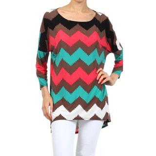 MOA Collection Women's Brown Chevron Striped Top