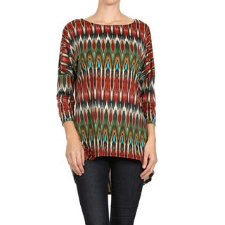 MOA Collection Women's Red Tribal Pattern Top