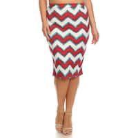 MOA Collection Plus Size Striped Pencil Skirt