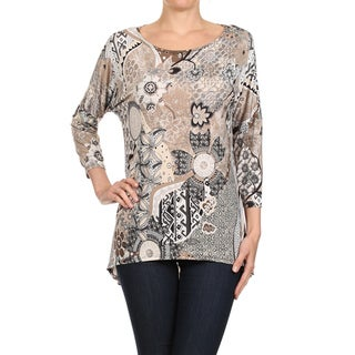 MOA Collection Women's Multicolored Abstract Pattern Top