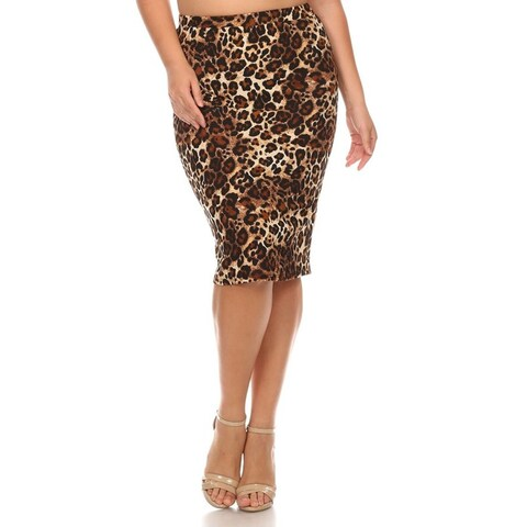 MOA Collection Plus Size Animal Printed Pencil Skirt