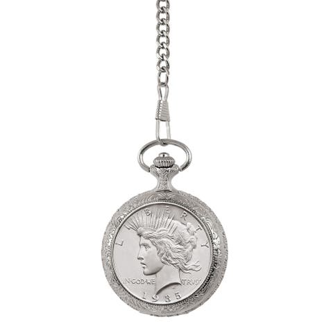 American Coin Treasures Brilliant Uncirculated Peace Silver Dollar Pocket Watch