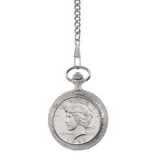 American Coin Treasures Brilliant Uncirculated Peace Silver Dollar Pocket Watch