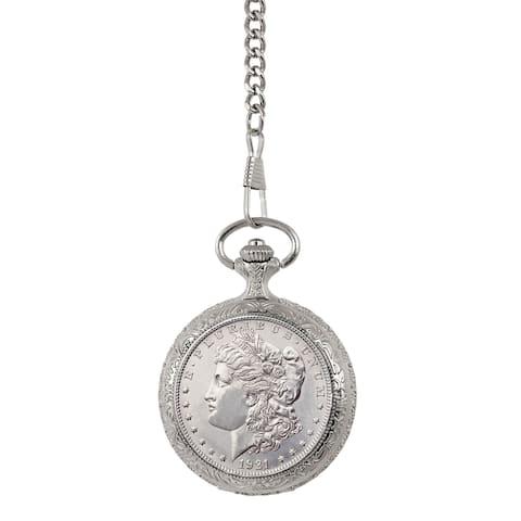 American Coin Treasures Brilliant Uncirculated Morgan Silver Dollar Pocket Watch