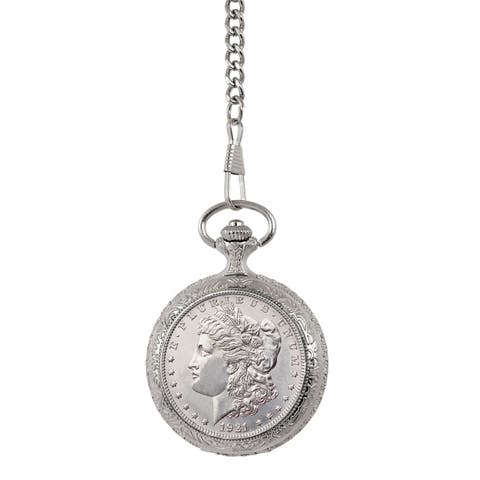 American Coin Treasures Brilliant Uncirculated Morgan Silver Dollar Pocket Watch