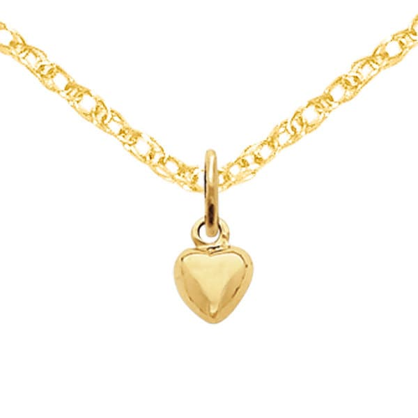 14K Rose Gold Solid Polished 3-Dimensional Small Heart Charm