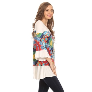 MOA Collection Women's Medallion Contrast 3/4 Sleeve Shirt