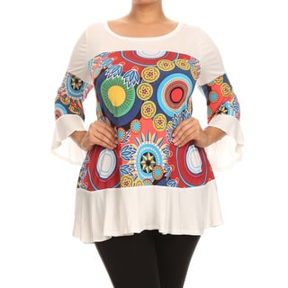 MOA Collection Plus Size Women's Medallion Contrast Top