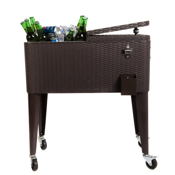 Beau HIO 80 Qt Outdoor Patio Cooler Table On Wheels, Rolling Cooler, Dark Brown  Wicker