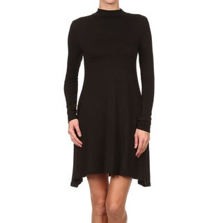 JED Women's Mock Neck Long Sleeve Casual Dress