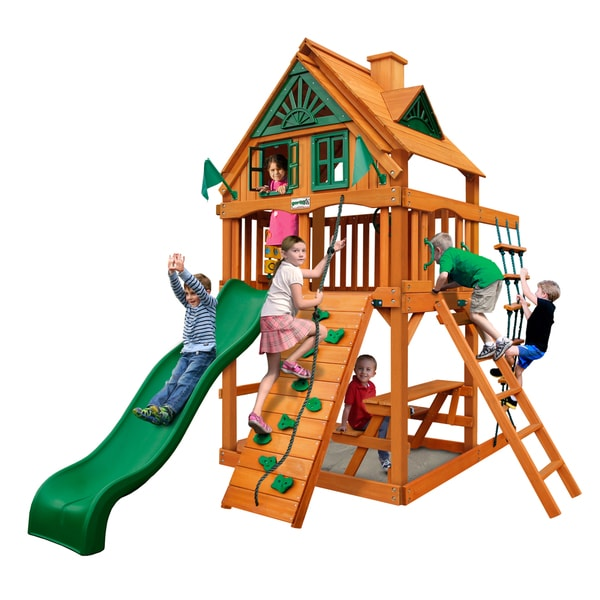 Gorilla Playsets Chateau Treehouse Tower Cedar Swing Set with Natural Cedar Posts - Brown