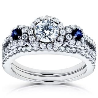 Annello by Kobelli 14k White Gold Sapphire and 1ct TDW Diamond Halo Three Stone Bridal Set