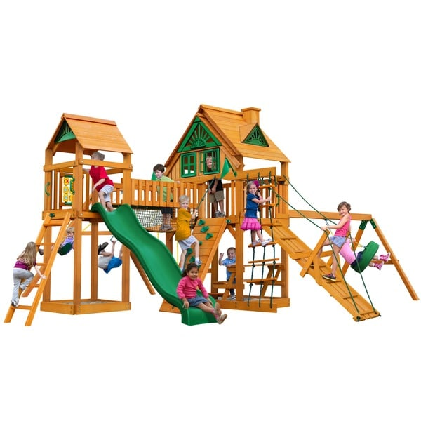 Gorilla Playsets Pioneer Peak Treehouse Cedar Swing Set with Fort Add-On and Natural Cedar Posts - Brown